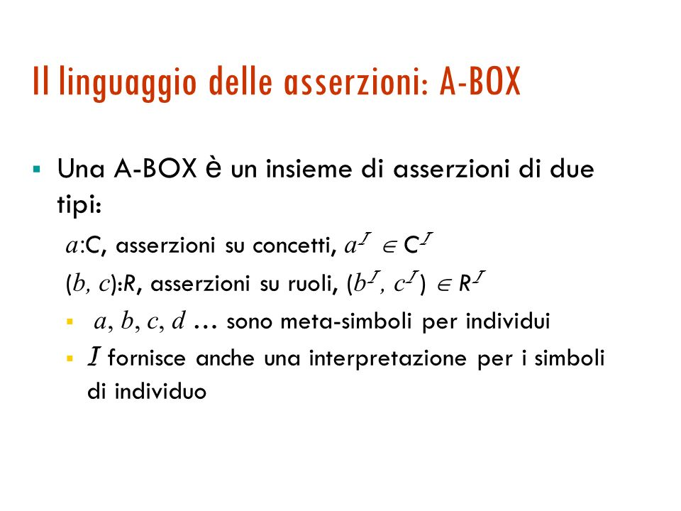 Terminologie con assiomi di inclusione Specializzazione: un assioma di inclusione la cui parte sinistra è atomica.