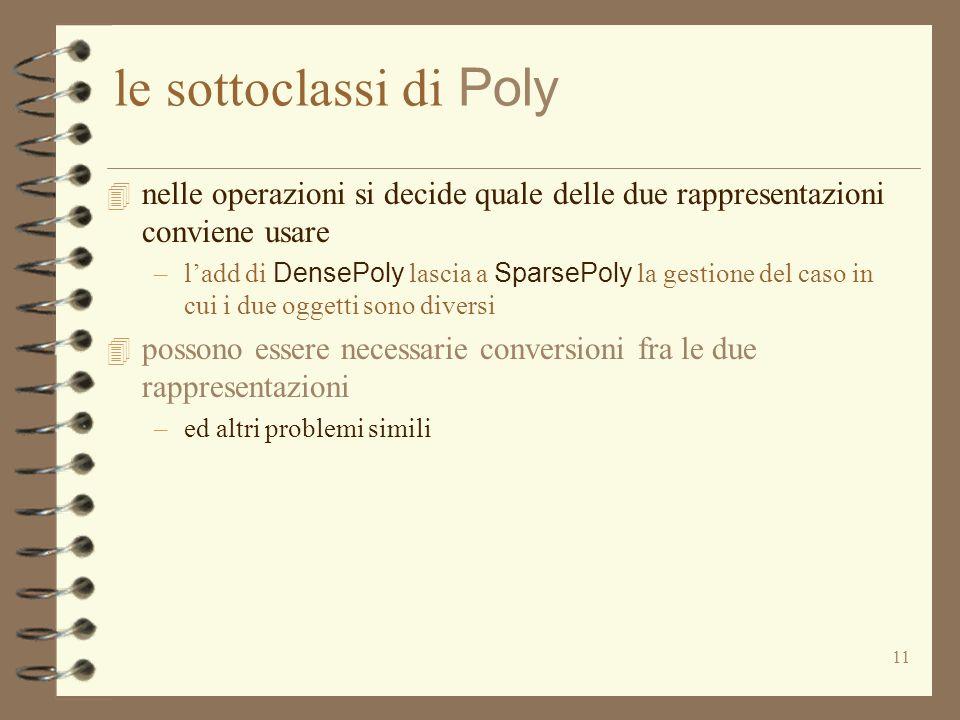 11 le sottoclassi di Poly 4 nelle operazioni si decide quale delle due rappresentazioni conviene usare –ladd di DensePoly lascia a SparsePoly la gestione del caso in cui i due oggetti sono diversi 4 possono essere necessarie conversioni fra le due rappresentazioni –ed altri problemi simili