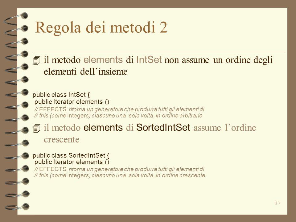 17 Regola dei metodi 2 4 il metodo elements di IntSet non assume un ordine degli elementi dellinsieme public class IntSet { public Iterator elements () // EFFECTS: ritorna un generatore che produrrà tutti gli elementi di // this (come Integers) ciascuno una sola volta, in ordine arbitrario 4 il metodo elements di SortedIntSet assume lordine crescente public class SortedIntSet { public Iterator elements () // EFFECTS: ritorna un generatore che produrrà tutti gli elementi di // this (come Integers) ciascuno una sola volta, in ordine crescente