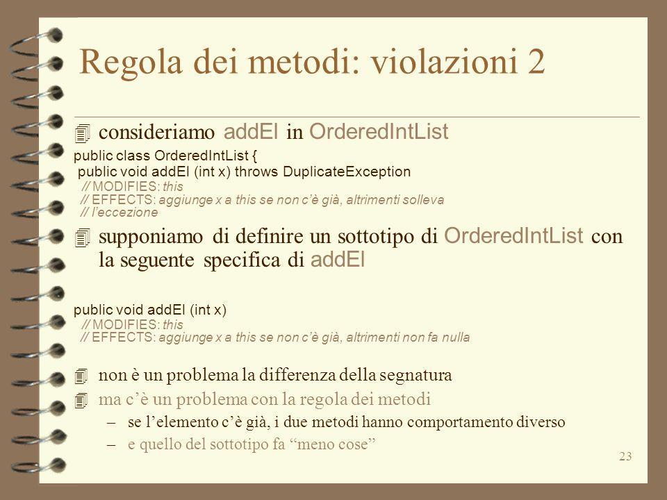 23 Regola dei metodi: violazioni 2 4 consideriamo addEl in OrderedIntList public class OrderedIntList { public void addEl (int x) throws DuplicateException // MODIFIES: this // EFFECTS: aggiunge x a this se non cè già, altrimenti solleva // leccezione 4 supponiamo di definire un sottotipo di OrderedIntList con la seguente specifica di addEl public void addEl (int x) // MODIFIES: this // EFFECTS: aggiunge x a this se non cè già, altrimenti non fa nulla 4 non è un problema la differenza della segnatura 4 ma cè un problema con la regola dei metodi –se lelemento cè già, i due metodi hanno comportamento diverso –e quello del sottotipo fa meno cose