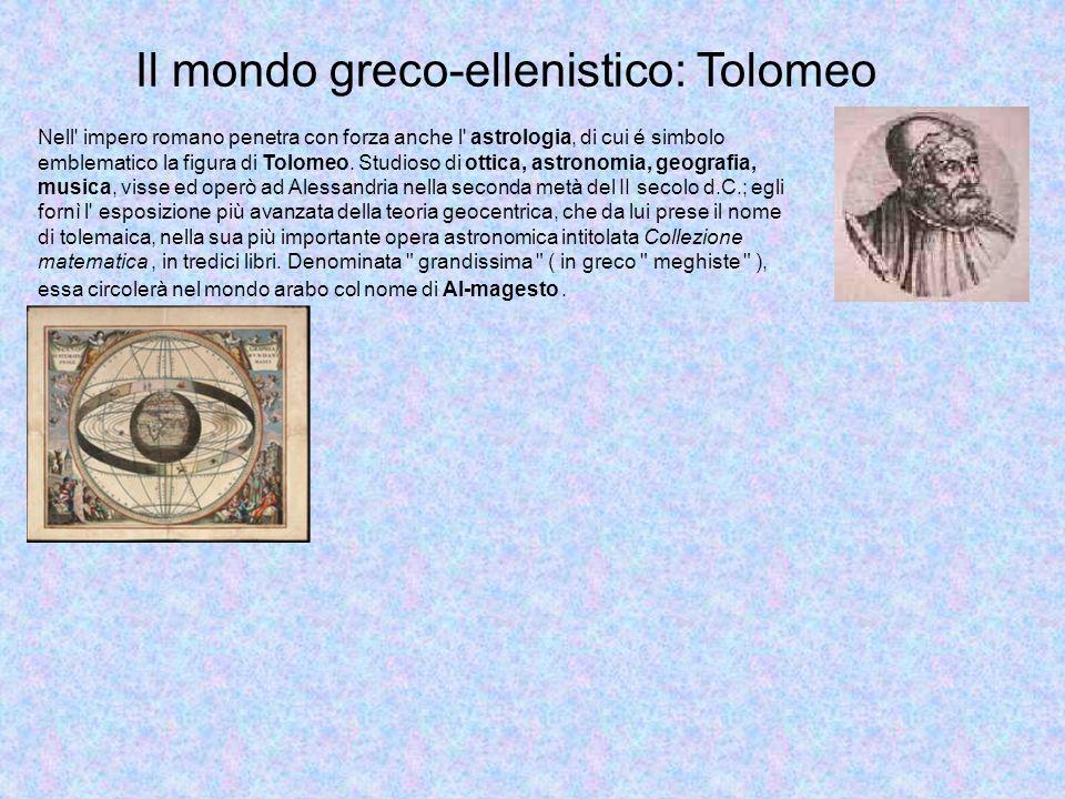 Il mondo greco-ellenistico: Tolomeo Nell impero romano penetra con forza anche l astrologia, di cui é simbolo emblematico la figura di Tolomeo.