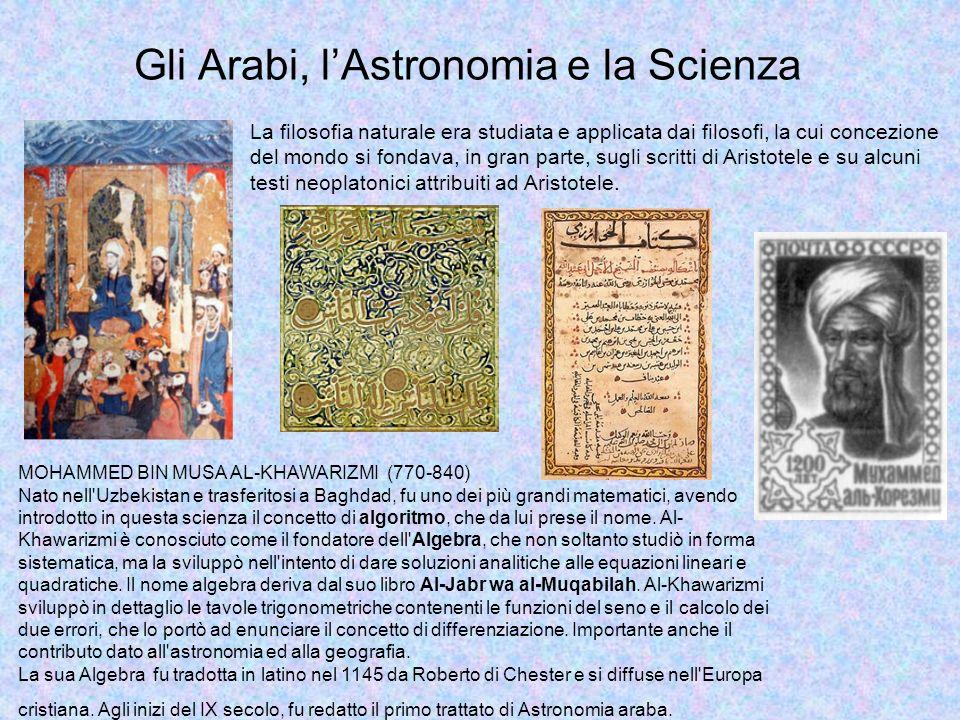 Gli Arabi, lAstronomia e la Scienza Dal Corano: O consesso di uomini, se potete varcare i limiti dei cieli e della terra, fatelo, ma non lo farete senza il permesso del vostro Signore .