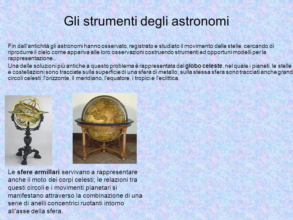 Gli strumenti degli astronomi Fin dall antichità gli astronomi hanno osservato, registrato e studiato il movimento delle stelle, cercando di riprodurre il cielo come appariva alle loro osservazioni costruendo strumenti ed opportuni modelli per la rappresentazione..