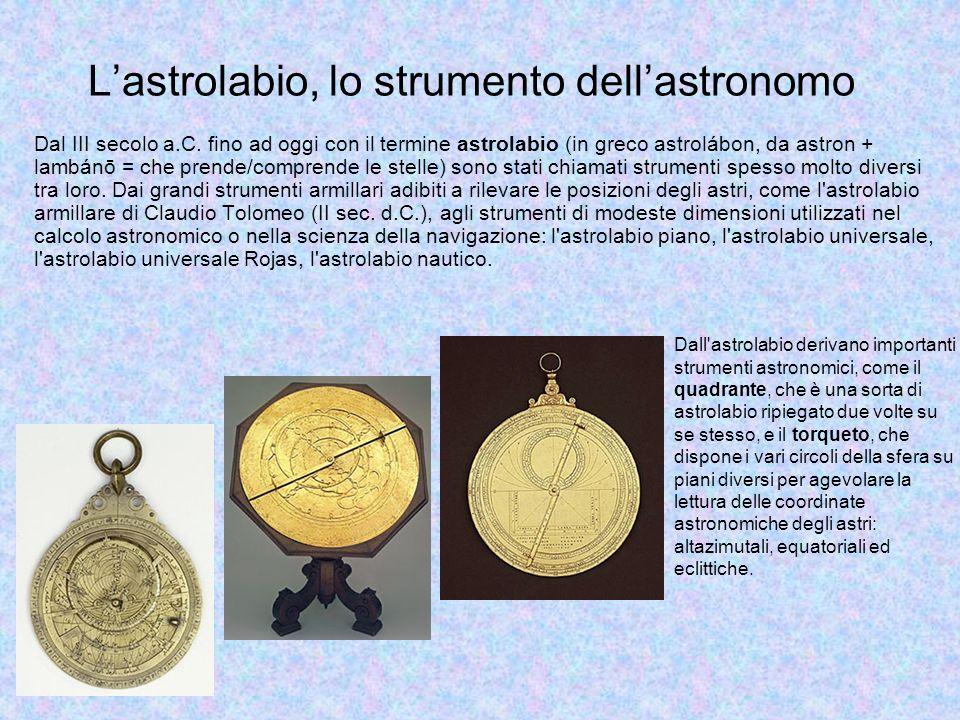 Lastrolabio, lo strumento dellastronomo Dall'astrolabio derivano importanti strumenti astronomici, come il quadrante, che è una sorta di astrolabio ri