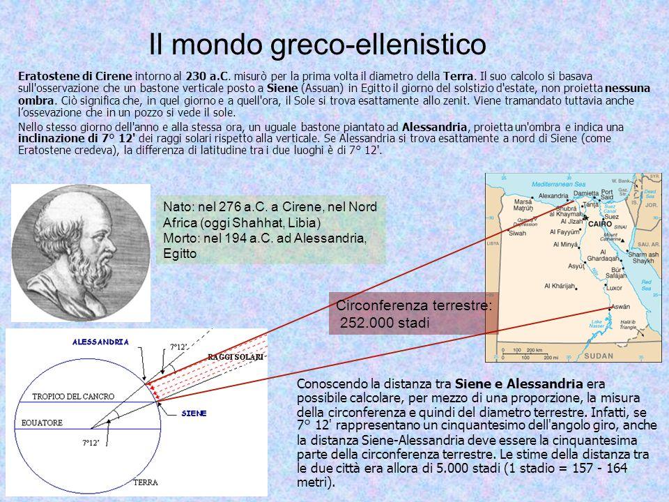 Il mondo greco-ellenistico Eratostene ottenne un valore del diametro terrestre pari a circa 12.629 km, una misura straordinariamente vicina a quella oggi accettata (inferiore soltanto di circa 113 Km).