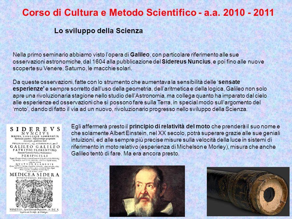 Nella primo seminario abbiamo visto lopera di Galileo, con particolare riferimento alle sue osservazioni astronomiche, dal 1604 alla pubblicazione del