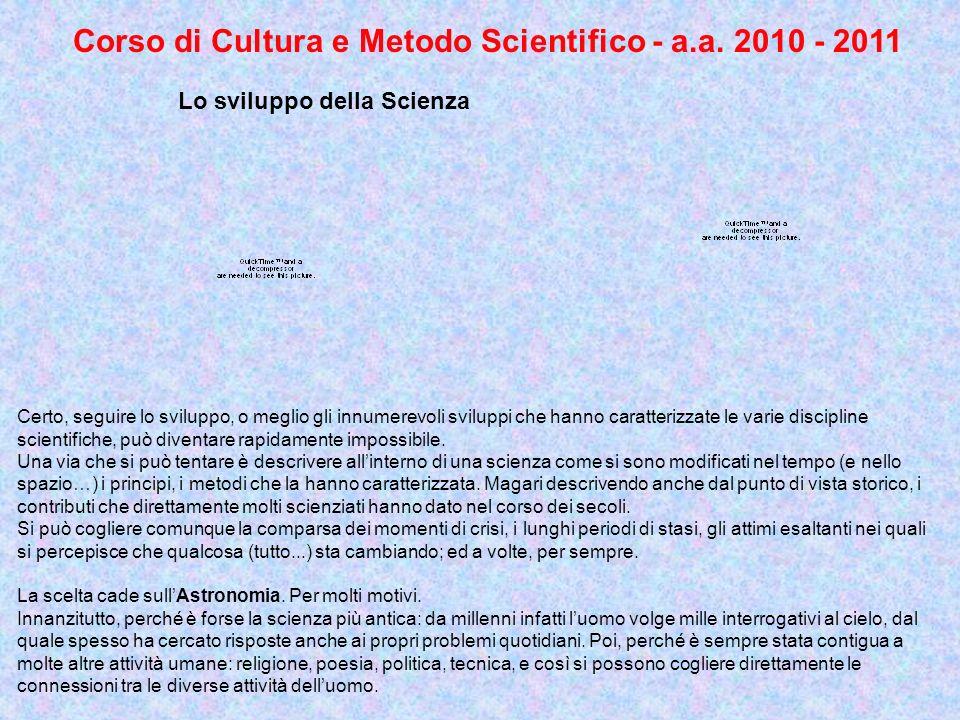 Corso di Cultura e Metodo Scientifico - a.a. 2010 - 2011 Lo sviluppo della Scienza Certo, seguire lo sviluppo, o meglio gli innumerevoli sviluppi che