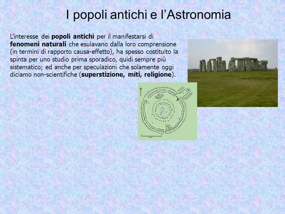 I popoli antichi e lAstronomia Linteresse dei popoli antichi per il manifestarsi di fenomeni naturali che esulavano dalla loro comprensione (in termin
