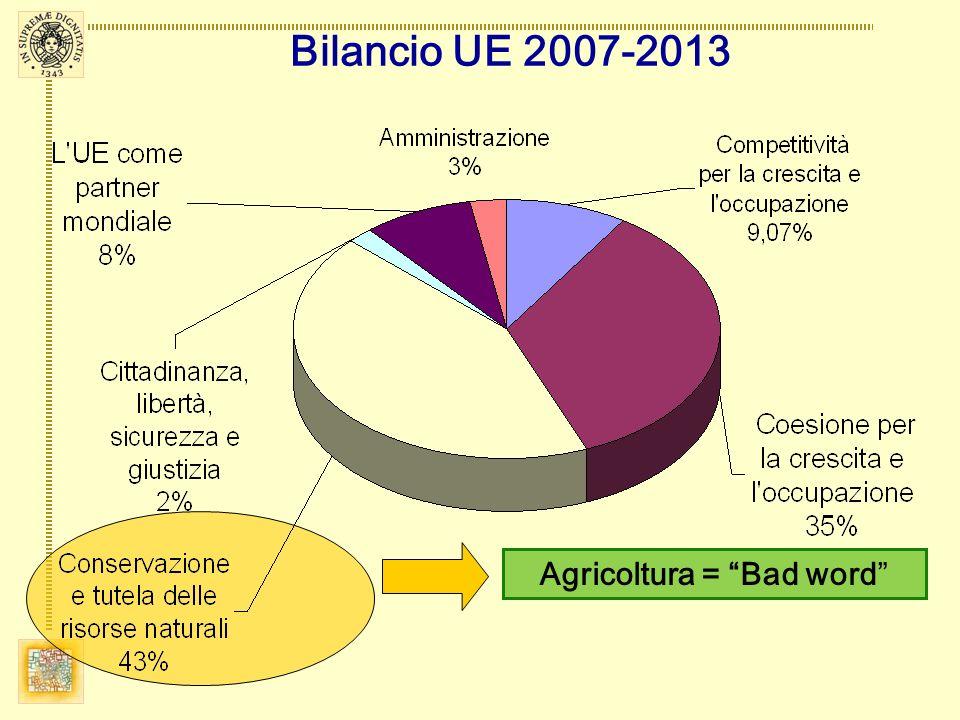 Agricoltura = Bad word Bilancio UE 2007-2013