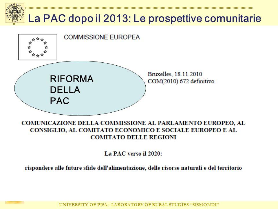 UNIVERSITY OF PISA - LABORATORY OF RURAL STUDIES SISMONDI La PAC dopo il 2013: Le prospettive comunitarie RIFORMA DELLA PAC