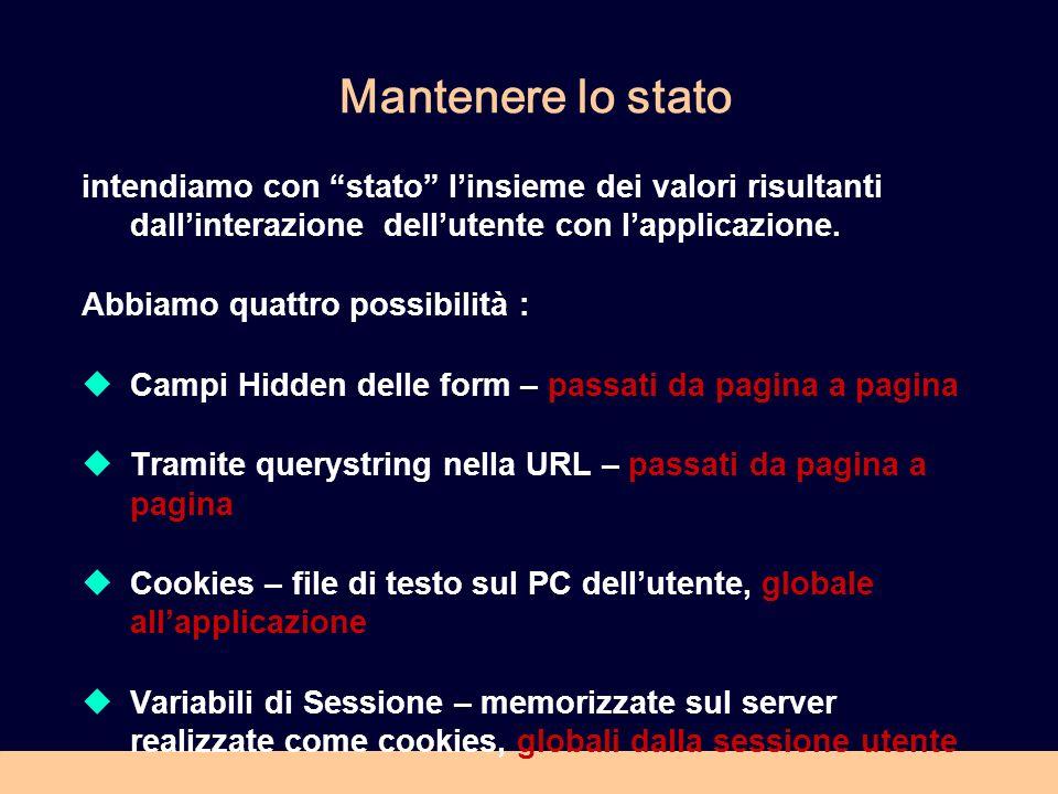 Sessioni La sessione è un concetto astratto che in HTTP non esiste.