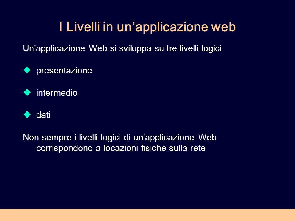 I Livelli in unapplicazione web Unapplicazione Web si sviluppa su tre livelli logici presentazione intermedio dati Non sempre i livelli logici di unapplicazione Web corrispondono a locazioni fisiche sulla rete
