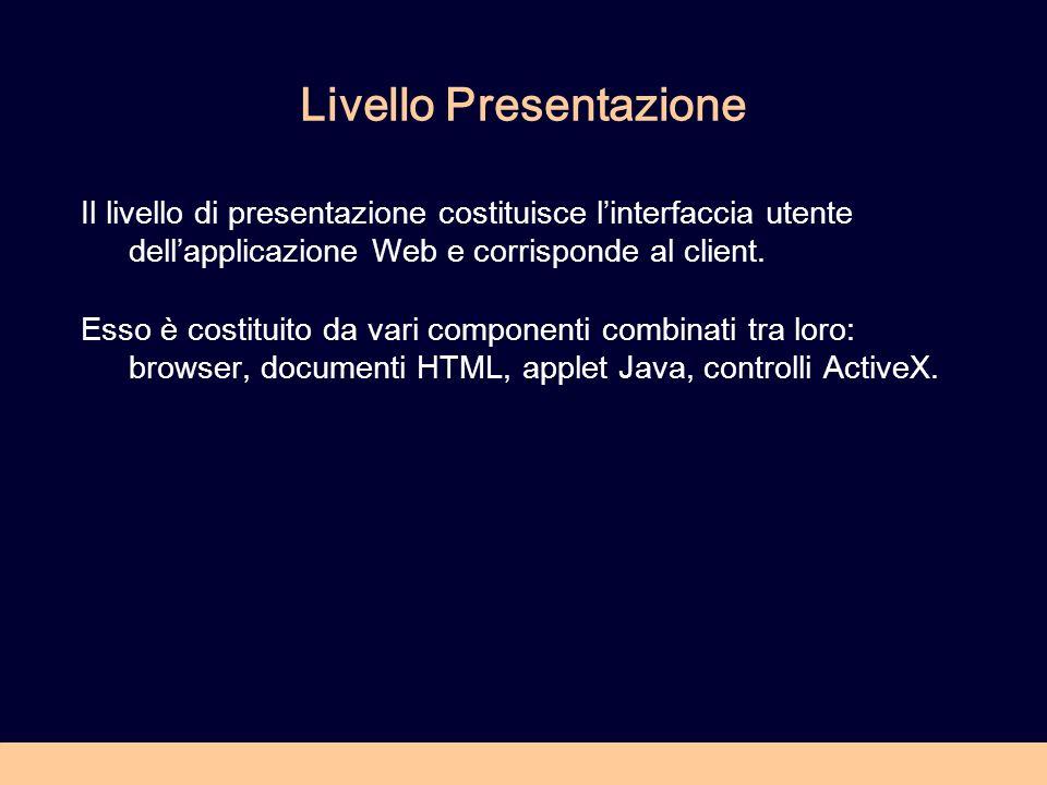 Livello Presentazione Il livello di presentazione costituisce linterfaccia utente dellapplicazione Web e corrisponde al client.