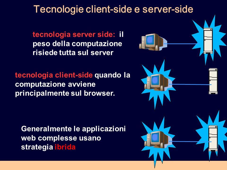 Tecnologie client-side e server-side tecnologia server side: il peso della computazione risiede tutta sul server tecnologia client-side quando la computazione avviene principalmente sul browser.