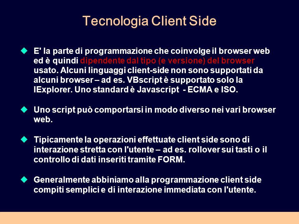 Tecnologia Client Side E la parte di programmazione che coinvolge il browser web ed è quindi dipendente dal tipo (e versione) del browser usato.