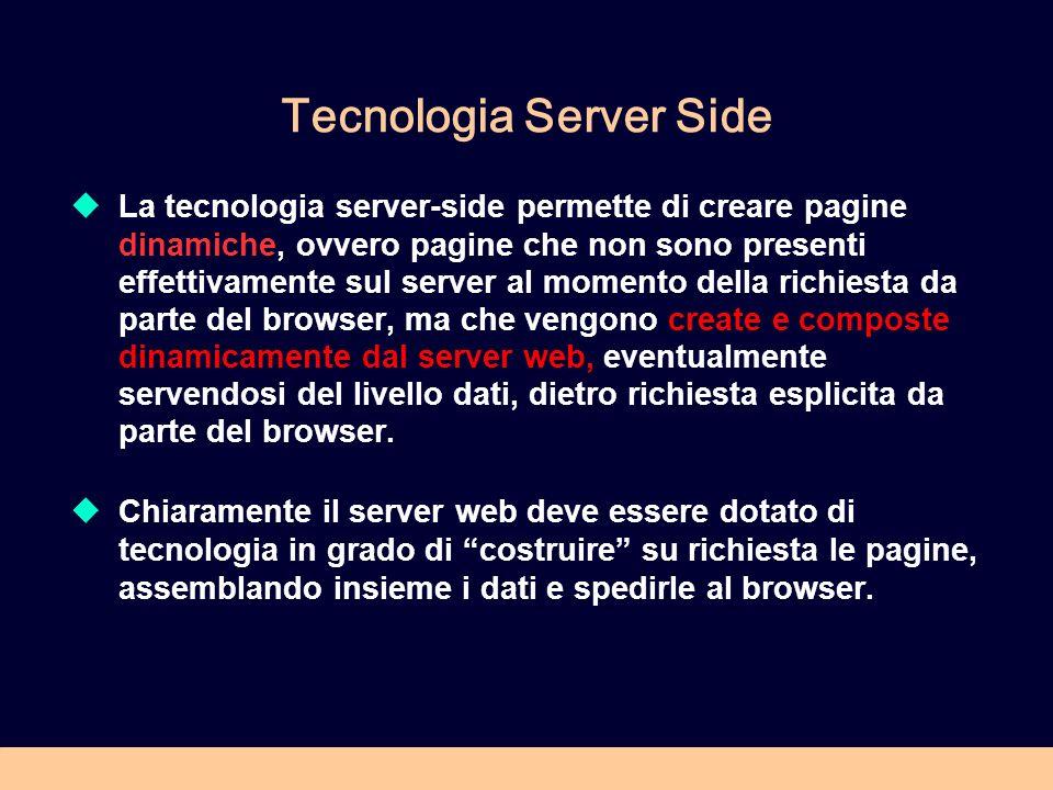 Tecnologia Server Side La tecnologia server-side permette di creare pagine dinamiche, ovvero pagine che non sono presenti effettivamente sul server al momento della richiesta da parte del browser, ma che vengono create e composte dinamicamente dal server web, eventualmente servendosi del livello dati, dietro richiesta esplicita da parte del browser.