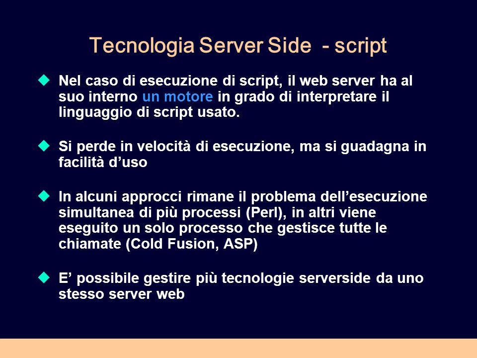 Tecnologia Server Side - script Nel caso di esecuzione di script, il web server ha al suo interno un motore in grado di interpretare il linguaggio di script usato.
