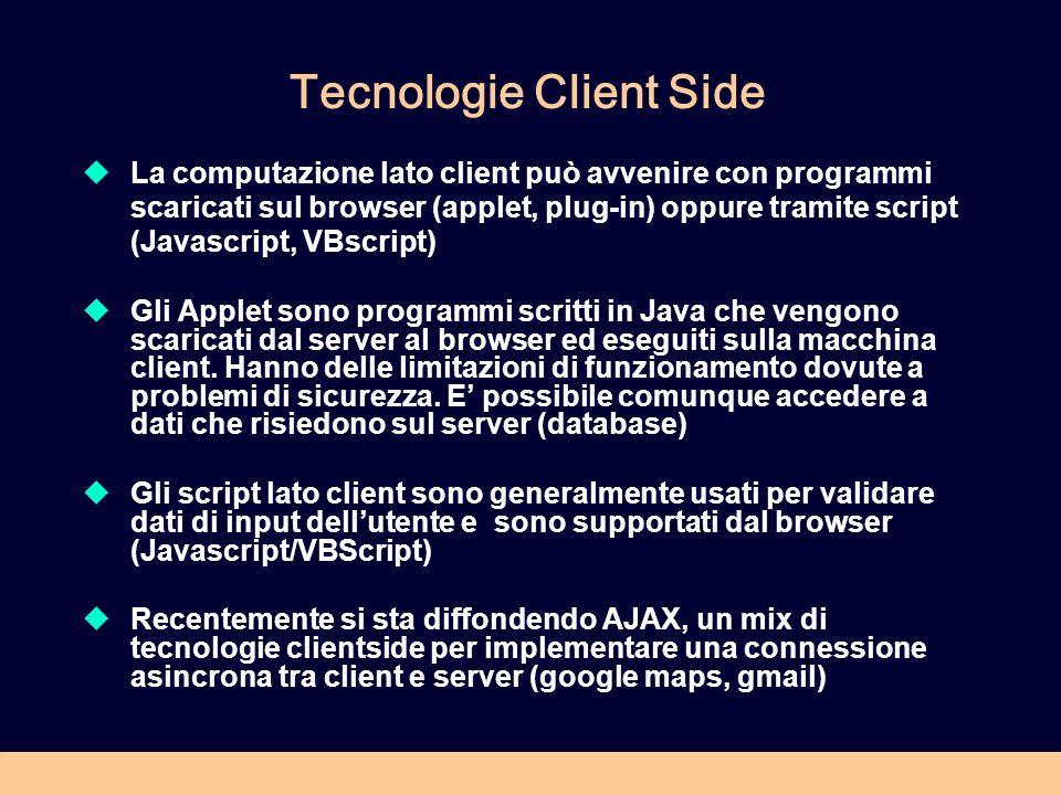 Tecnologie Client Side La computazione lato client può avvenire con programmi scaricati sul browser (applet, plug-in) oppure tramite script (Javascript, VBscript) Gli Applet sono programmi scritti in Java che vengono scaricati dal server al browser ed eseguiti sulla macchina client.