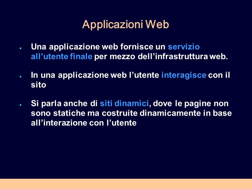 Applicazioni Web Una applicazione web fornisce un servizio allutente finale per mezzo dellinfrastruttura web.
