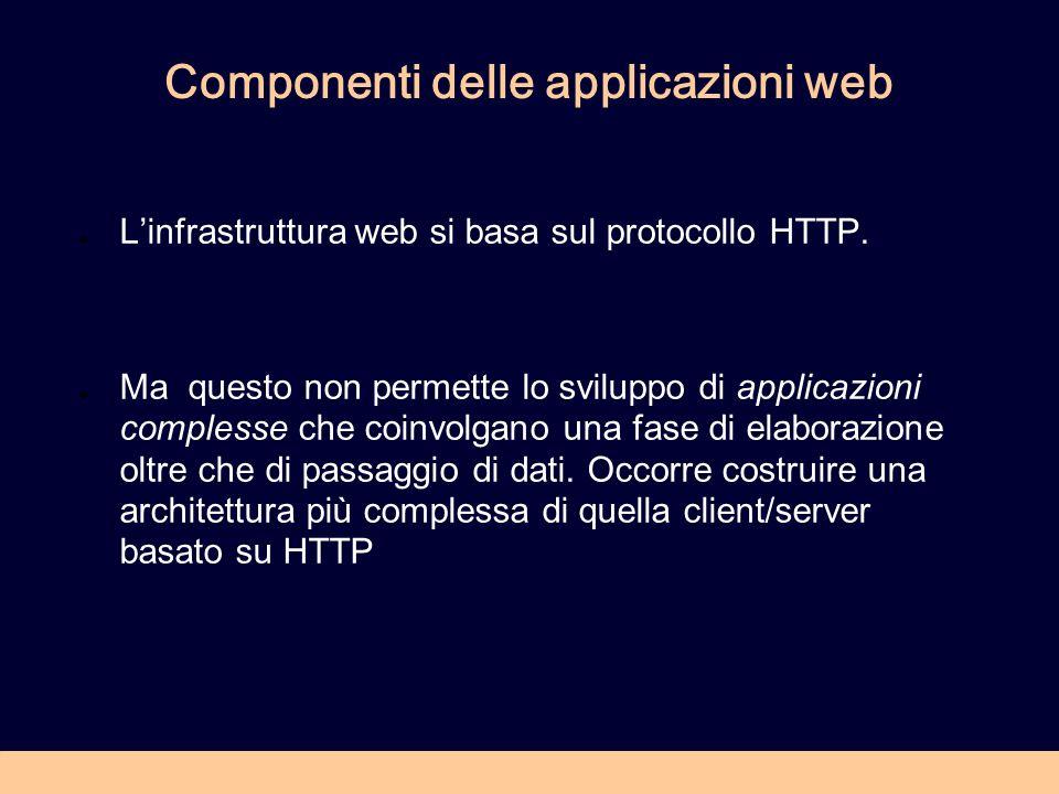 Componenti delle applicazioni web Linfrastruttura web si basa sul protocollo HTTP.