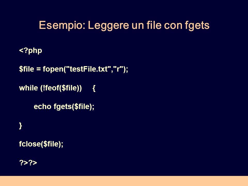 Esempio: Leggere un file con fgets < php $file = fopen( testFile.txt , r ); while (!feof($file)) { echo fgets($file); } fclose($file); > >
