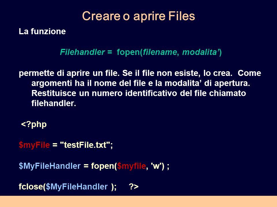 Creare o aprire Files La funzione Filehandler = fopen(filename, modalita) permette di aprire un file.