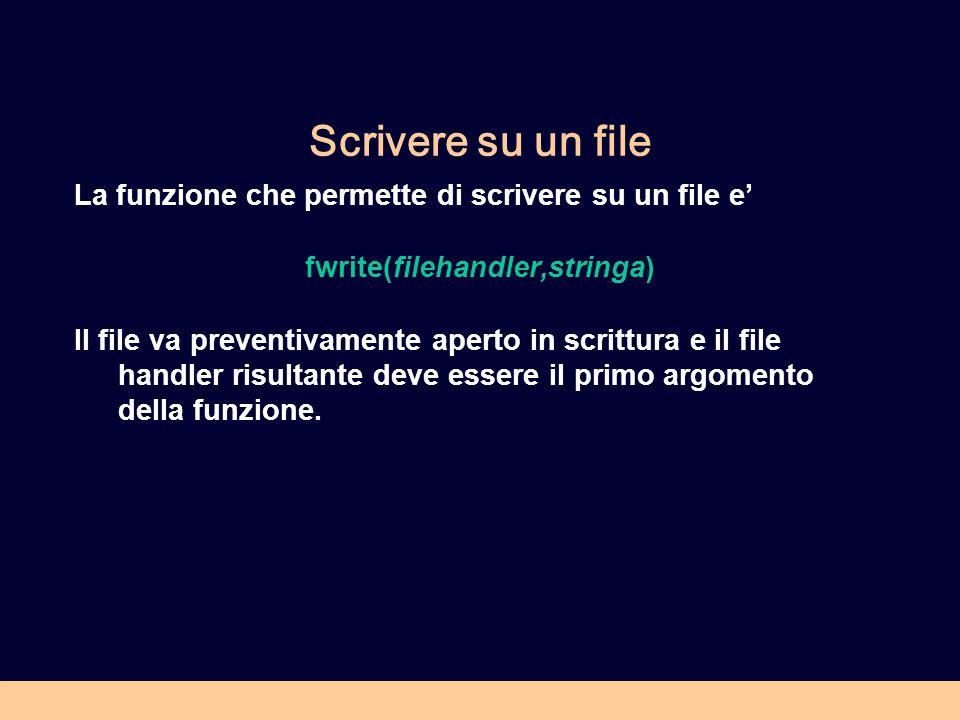 Scrivere su un file La funzione che permette di scrivere su un file e fwrite(filehandler,stringa) Il file va preventivamente aperto in scrittura e il file handler risultante deve essere il primo argomento della funzione.