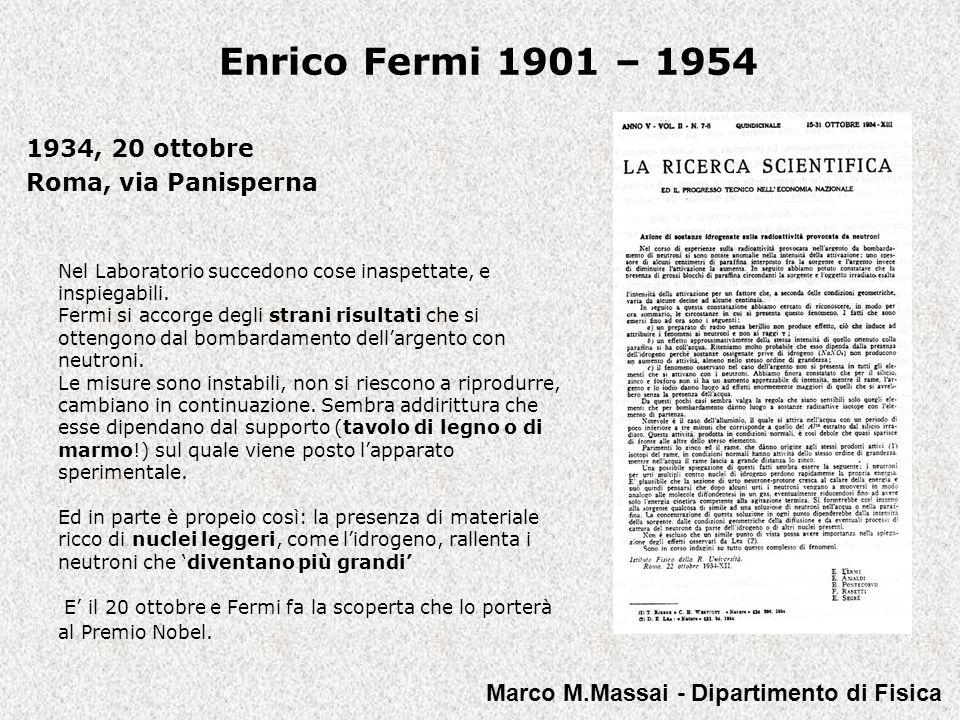 Enrico Fermi 1901 – 1954 Il 26 ottobre del 1935 viene presentata richiesta di brevetto a nome di tutti i membri del Gruppo.