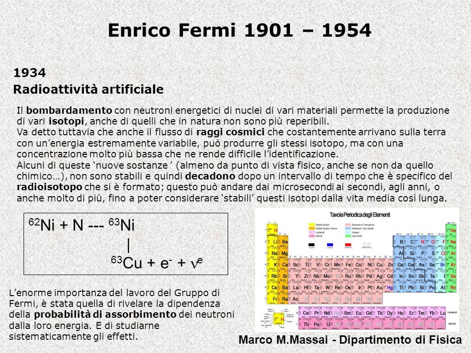 Enrico Fermi 1901 – 1954 1923 La relazione tra massa ed energia ci porta senzaltro a delle cifre grandiose.
