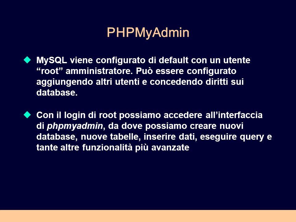 PHPMyAdmin MySQL viene configurato di default con un utente root amministratore. Può essere configurato aggiungendo altri utenti e concedendo diritti