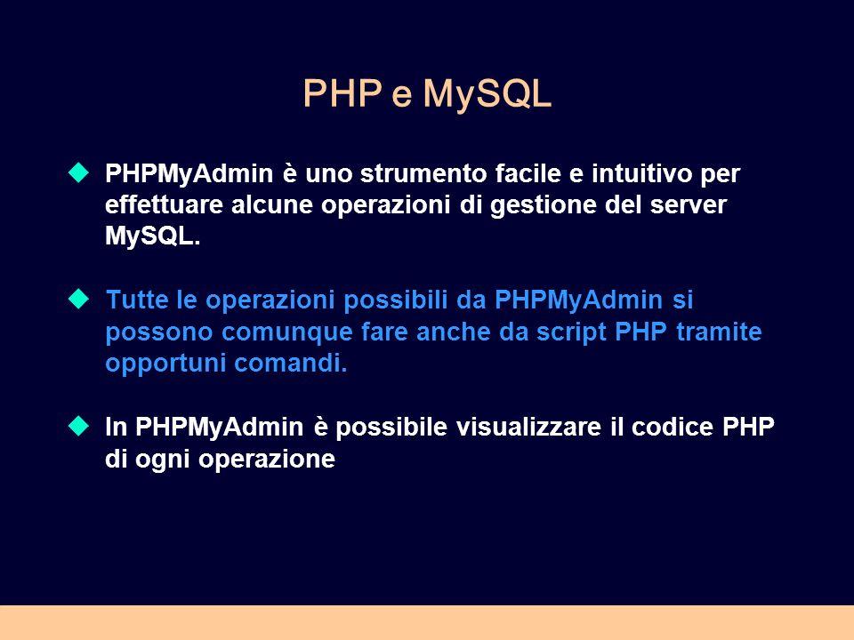 PHP e MySQL PHPMyAdmin è uno strumento facile e intuitivo per effettuare alcune operazioni di gestione del server MySQL. Tutte le operazioni possibili