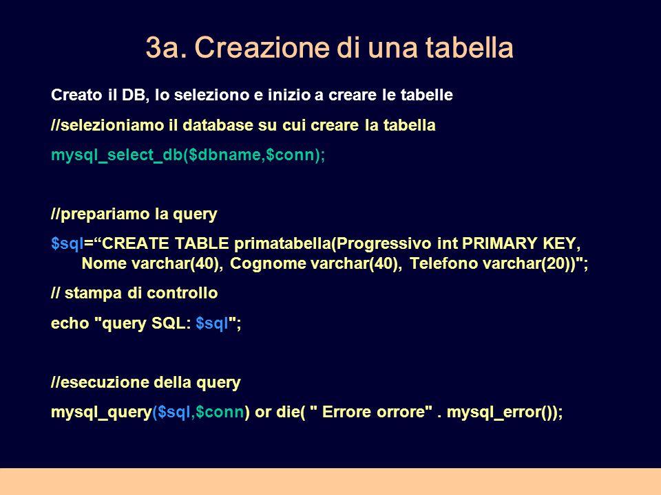 3a. Creazione di una tabella Creato il DB, lo seleziono e inizio a creare le tabelle //selezioniamo il database su cui creare la tabella mysql_select_