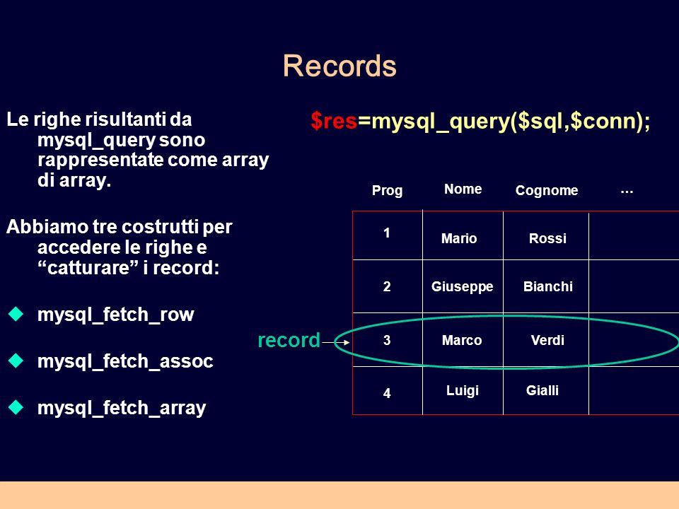 Records Le righe risultanti da mysql_query sono rappresentate come array di array. Abbiamo tre costrutti per accedere le righe e catturare i record: m