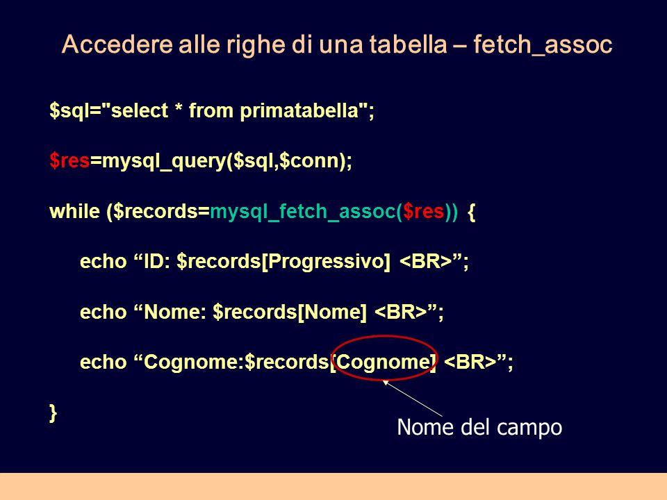 Accedere alle righe di una tabella – fetch_assoc $sql=