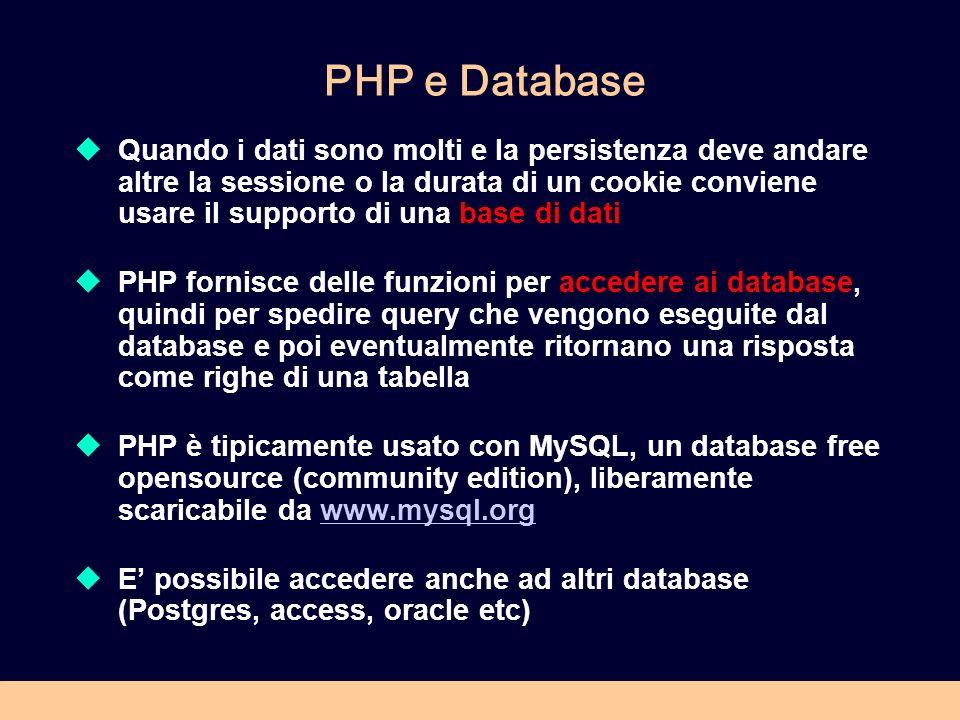 PHP e Database Quando i dati sono molti e la persistenza deve andare altre la sessione o la durata di un cookie conviene usare il supporto di una base