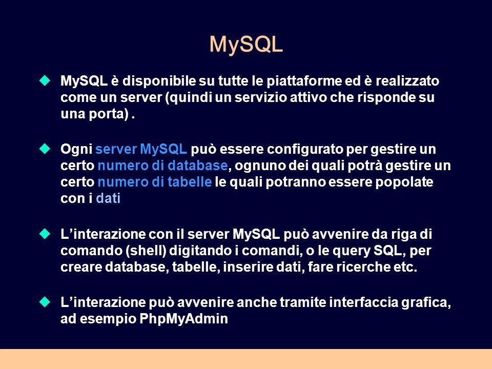 PHPMyAdmin Un client molto usato basato su una grafica user-friendly è PHPMyAdmin, una applicazione web fatta in PHP che permette di gestire MYSQL server via interfaccia web Si può liberamente scaricare da http://www.phpmyadmin.net/ si installa come applicazione PHP (quindi php deve essere installato e il web server deve essere attivo).http://www.phpmyadmin.net/ E già incluso in EasyPHP, MAMP e XAMMP Se è installato sulla cartella di default del server web è tipicamente disponibile alla URL: http://localhost/phpmyadmin/ Oppure http://localhost/mysql su Easyphphttp://localhost/mysql