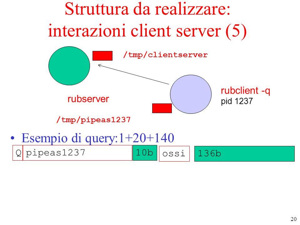 20 rubserver rubclient -q pid 1237 Struttura da realizzare: interazioni client server (5) Esempio di query:1+20+140 /tmp/pipeas1237 ossi136b Qpipeas12