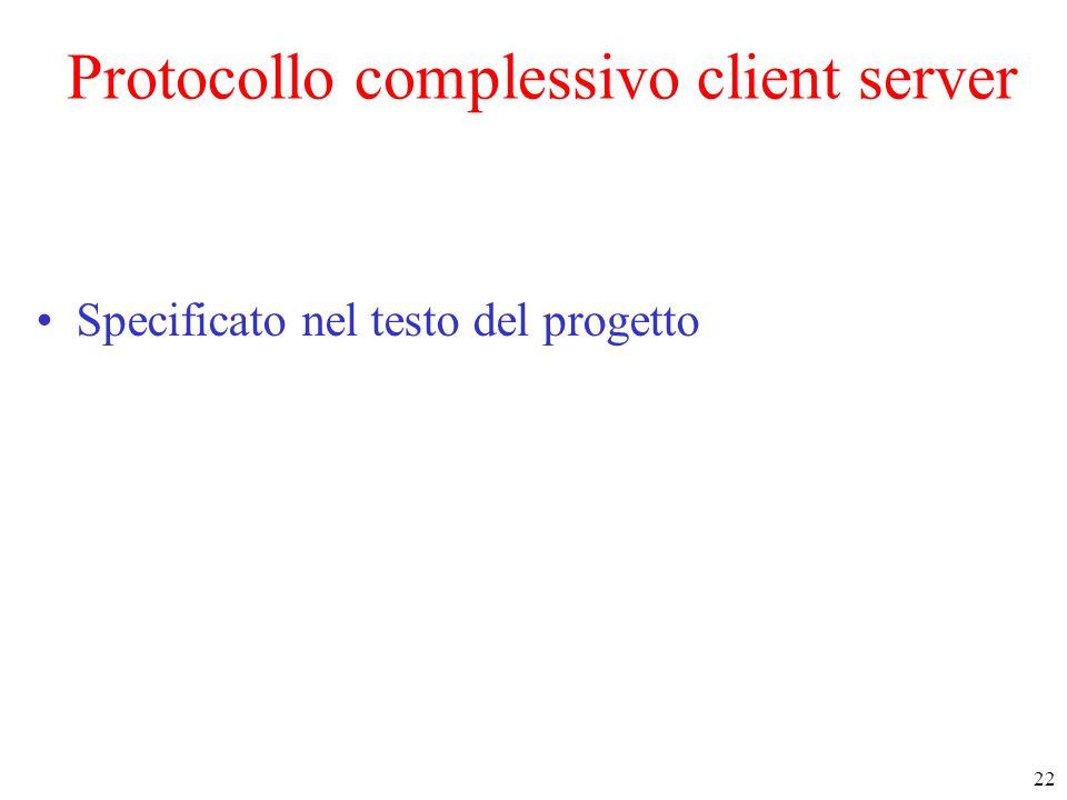 22 Protocollo complessivo client server Specificato nel testo del progetto