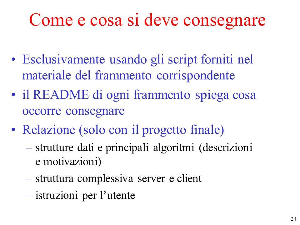 24 Come e cosa si deve consegnare Esclusivamente usando gli script forniti nel materiale del frammento corrispondente il README di ogni frammento spie