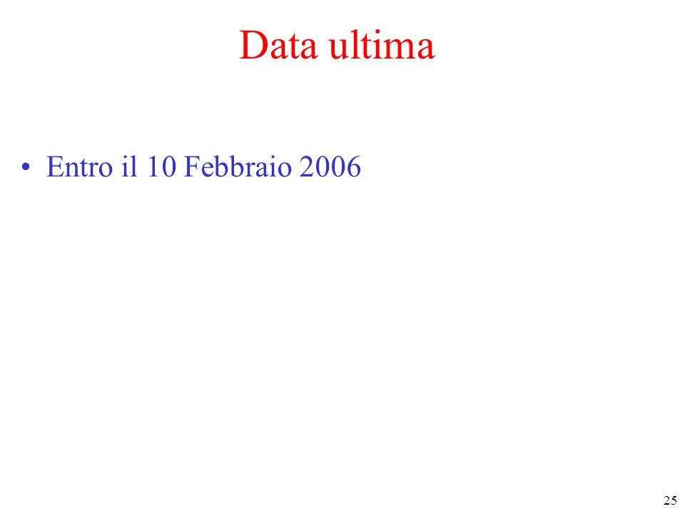 25 Data ultima Entro il 10 Febbraio 2006