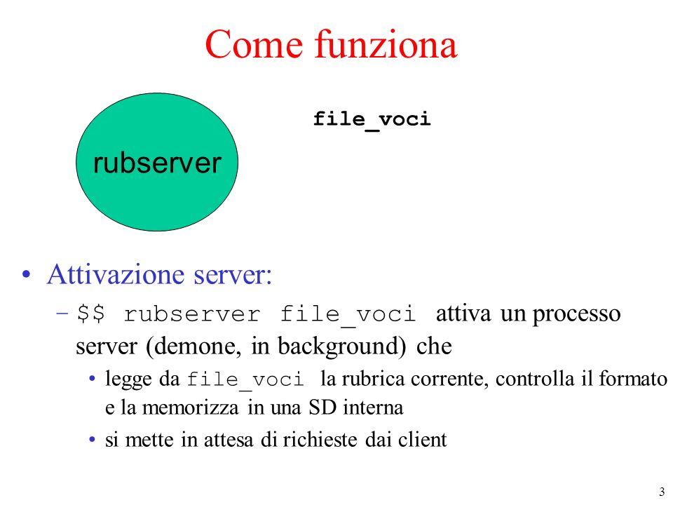 3 rubserver Come funziona Attivazione server: –$$ rubserver file_voci attiva un processo server (demone, in background) che legge da file_voci la rubr