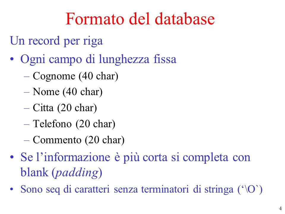 4 Formato del database Un record per riga Ogni campo di lunghezza fissa –Cognome (40 char) –Nome (40 char) –Citta (20 char) –Telefono (20 char) –Comme