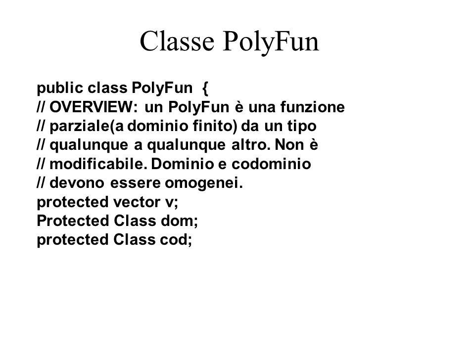 Classe PolyFun public class PolyFun { // OVERVIEW: un PolyFun è una funzione // parziale(a dominio finito) da un tipo // qualunque a qualunque altro.