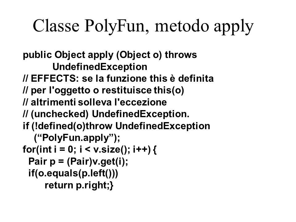 Classe PolyFun, metodo bind public PolyFun bind (Object d, Object c) throws DuplicateException, ClassCastException, NullPointerException { // EFFECTS: restituisce una funzione // diversa da this perché definita anche // per d e applicata a d restituisce c.