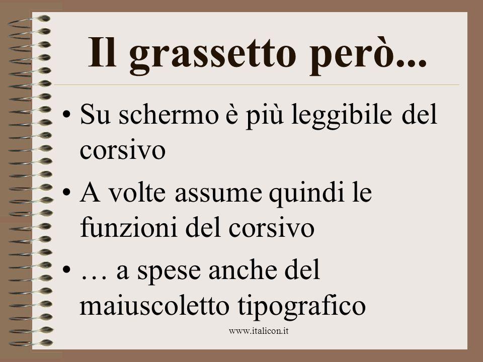 www.italicon.it Il grassetto però... Su schermo è più leggibile del corsivo A volte assume quindi le funzioni del corsivo … a spese anche del maiuscol