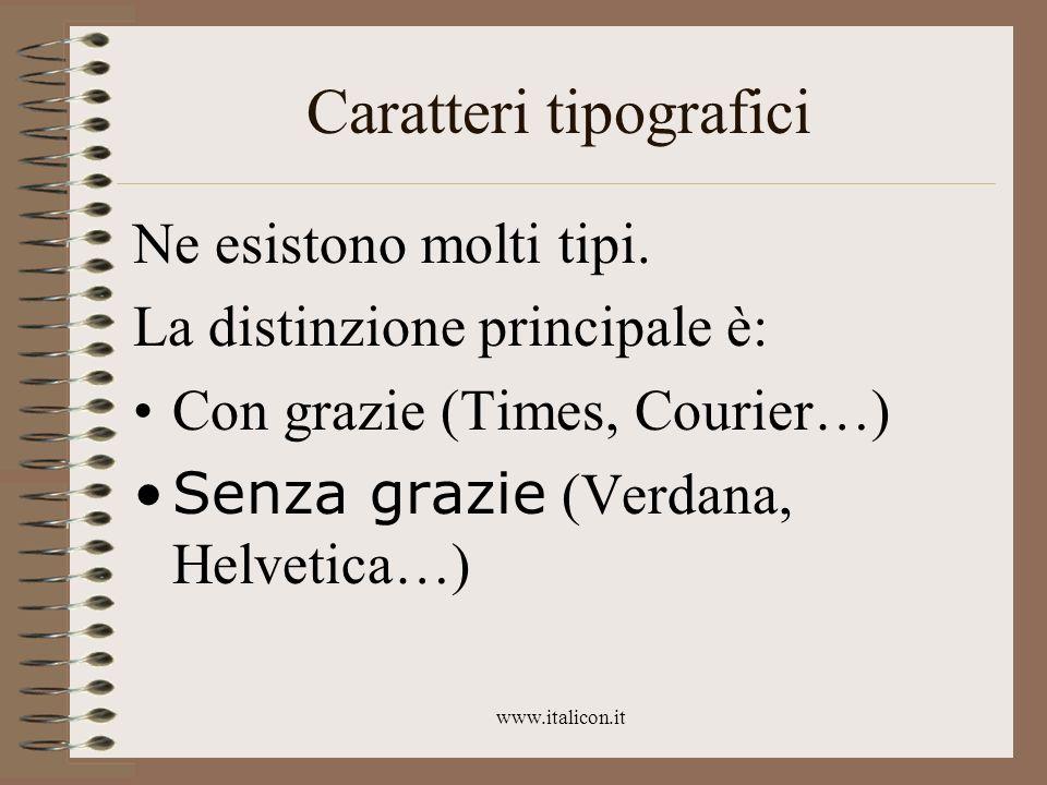 www.italicon.it Caratteri tipografici Ne esistono molti tipi. La distinzione principale è: Con grazie (Times, Courier…) Senza grazie (Verdana, Helveti