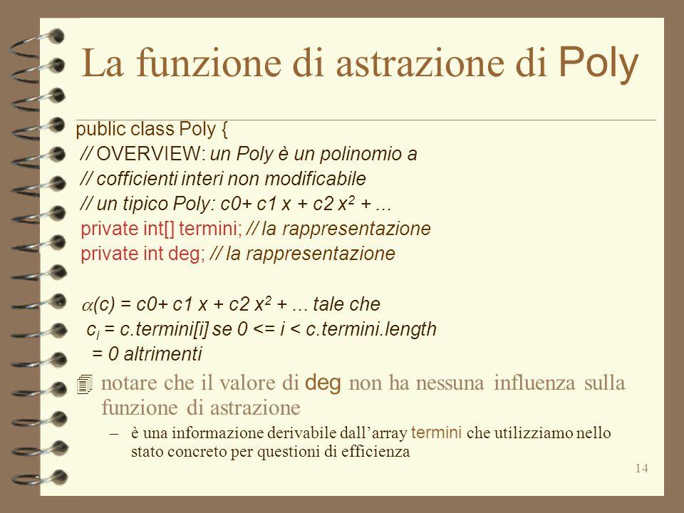 14 La funzione di astrazione di Poly public class Poly { // OVERVIEW: un Poly è un polinomio a // cofficienti interi non modificabile // un tipico Poly: c0+ c1 x + c2 x 2 +...