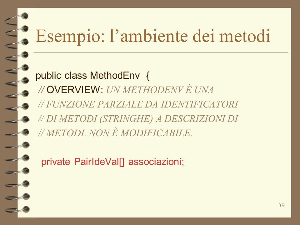 39 Esempio: lambiente dei metodi public class MethodEnv { // OVERVIEW: UN METHODENV È UNA // FUNZIONE PARZIALE DA IDENTIFICATORI // DI METODI (STRINGHE) A DESCRIZIONI DI // METODI.