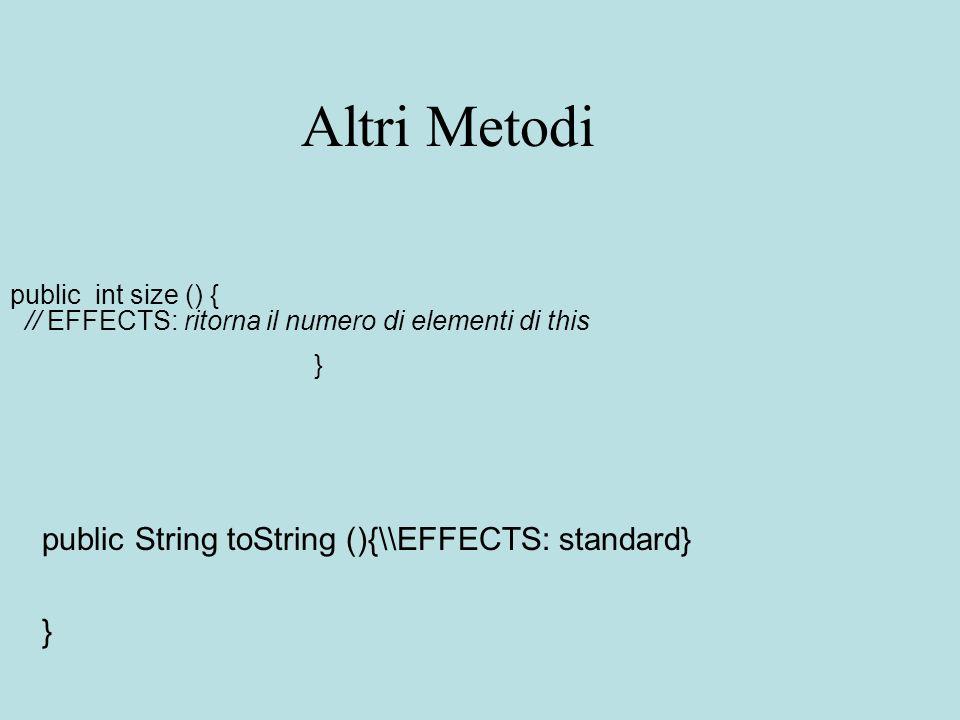 Altri Metodi public int size () { // EFFECTS: ritorna il numero di elementi di this } public String toString (){\\EFFECTS: standard} }