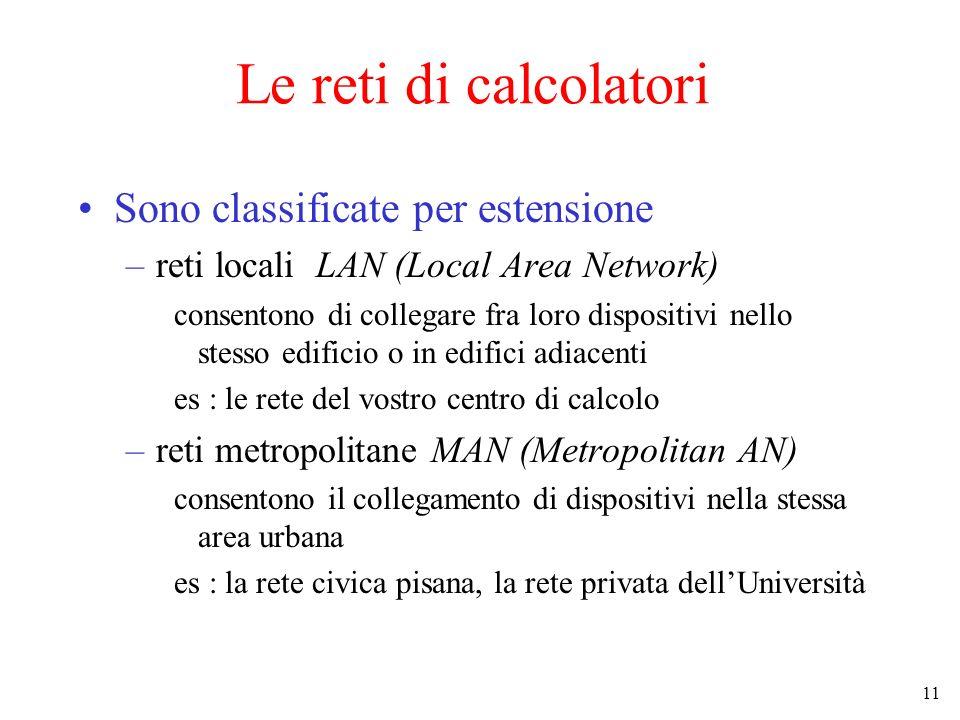 11 Le reti di calcolatori Sono classificate per estensione –reti locali LAN (Local Area Network) consentono di collegare fra loro dispositivi nello st